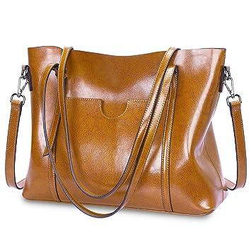 7e1978d3fc622 S-ZONE Damen Vintage 3-Way Echtes Leder Tote Schultertasche Handtasche Mode  Handtasche Messenger