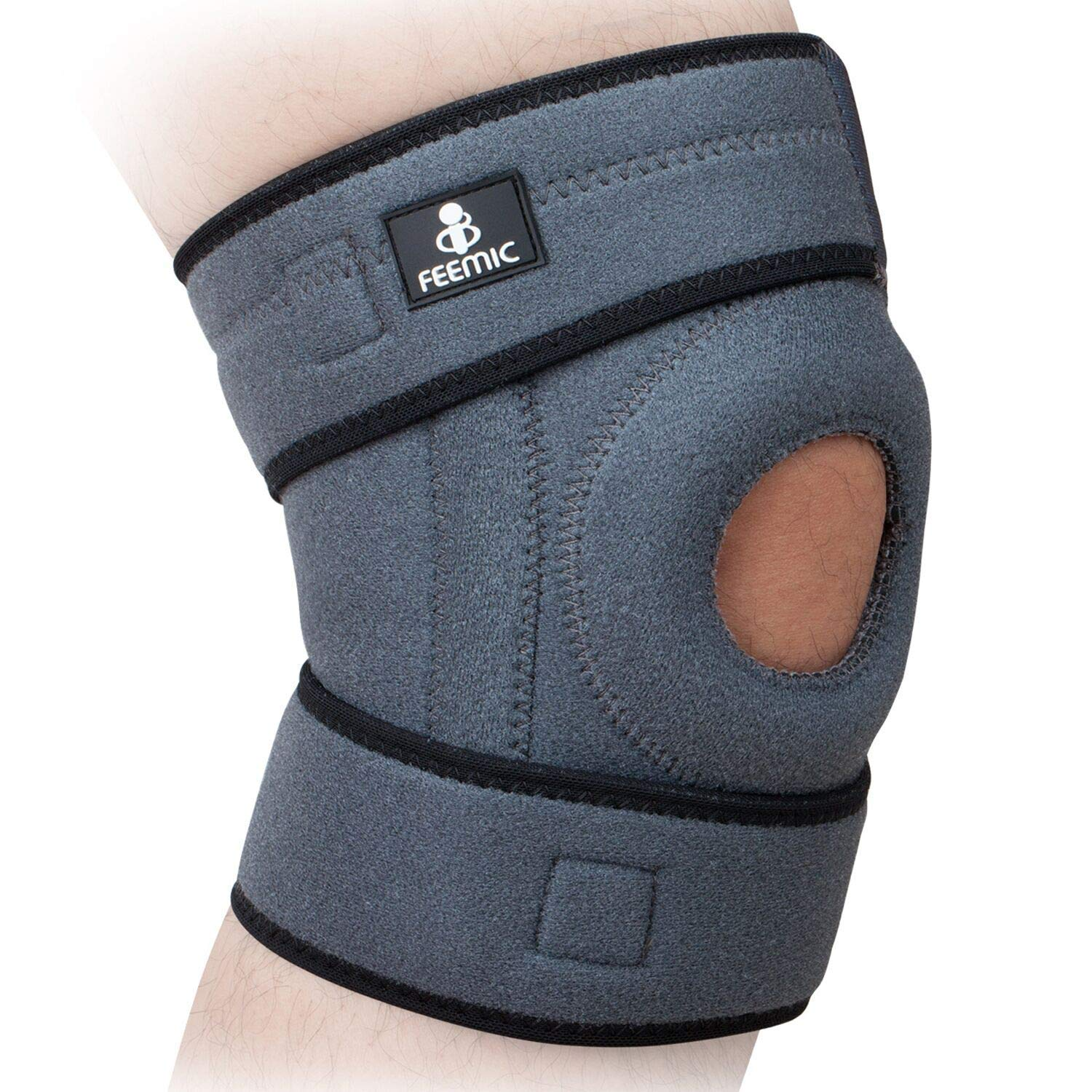 3bf4b26119 BSUEA Knee Brace Support with Adjustable Strapping Non-Slip Breathable  Sleeve. Meniscus Tear Support, Open-Patella Stabilizer Knee Brace for  Running, ...