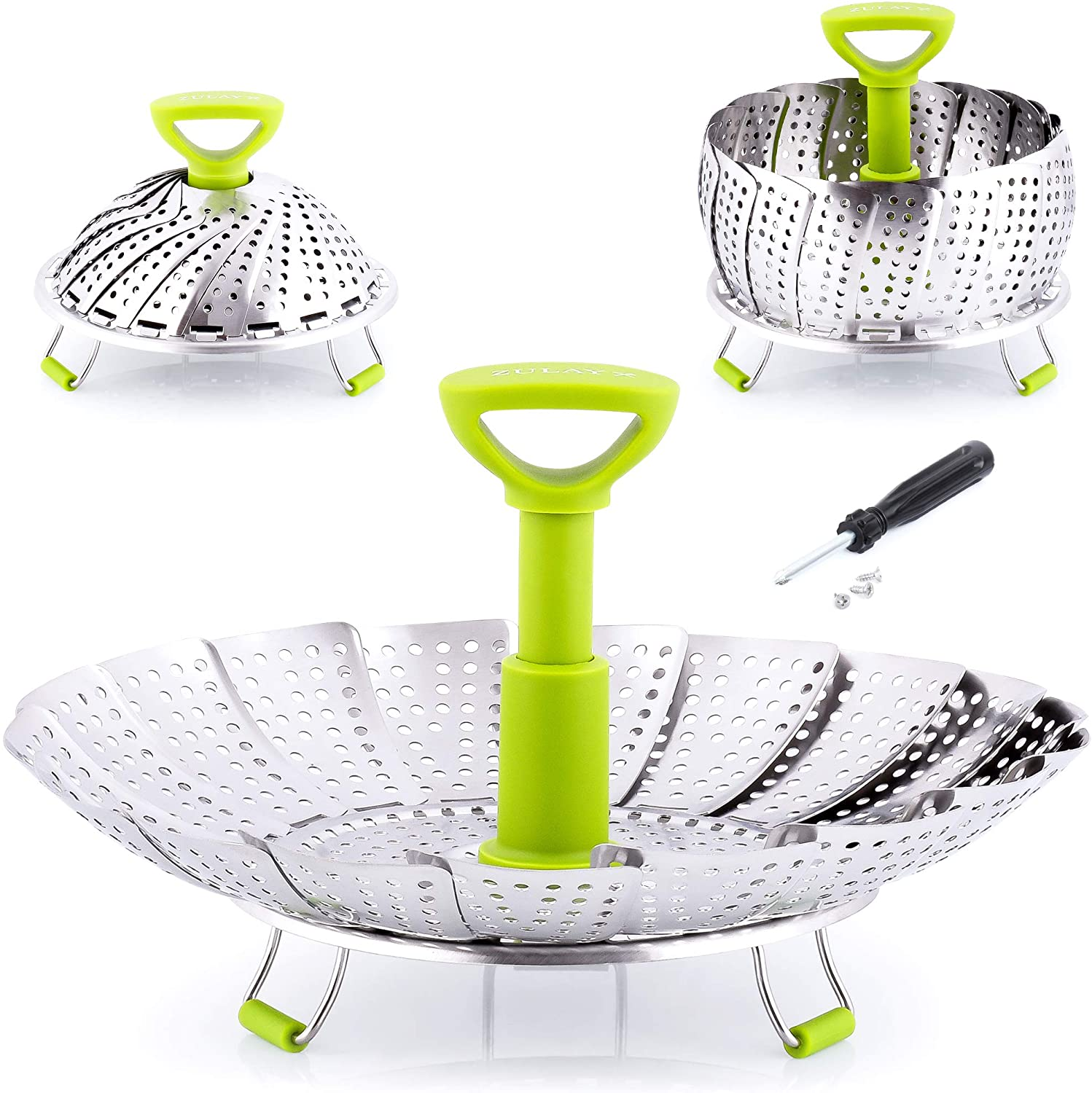 Zulay Adjustable Vegetable Steamer Baskets For Cooking - Foldable Steamer Basket (5.1