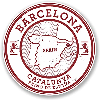 2 x Barcelona Catalunya España vinilo calcomanía etiqueta de equipaje de viaje #5723 (10 cm x 10 cm): Amazon.es: Coche y moto
