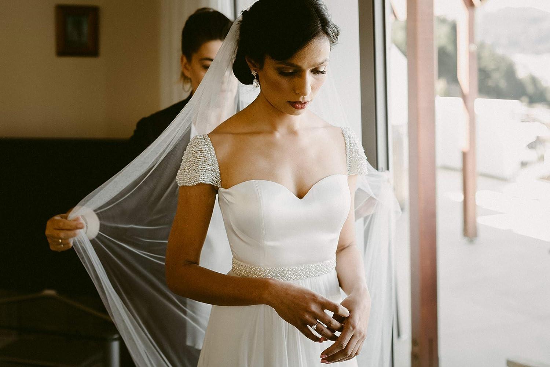 332008e8f3a9 Amazon.com: Detachable Add-on Hand Beaded Cap Sleeves Straps for Strapless Wedding  Dress: Handmade