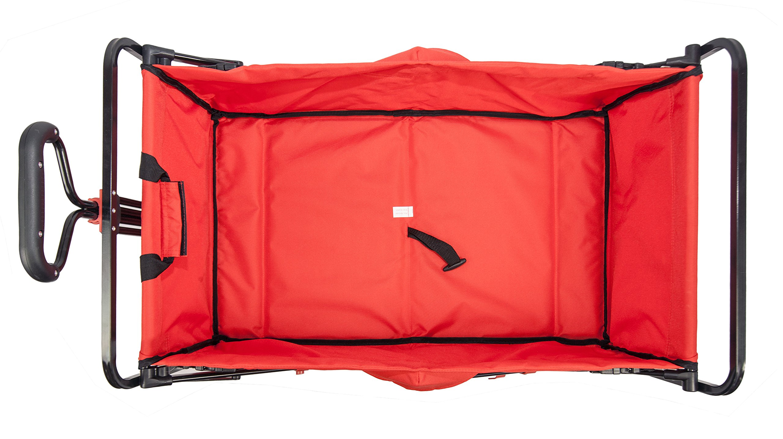 Wonder Fold Outdoor Next Generation Utility Folding Wagon with Removable Polyester Bag, Spring Bounce Feature, Auto Safety Locks, 180 Degree Steering Telescoping Handle Performance, Scarlet Red by WonderFold Outdoor (Image #3)