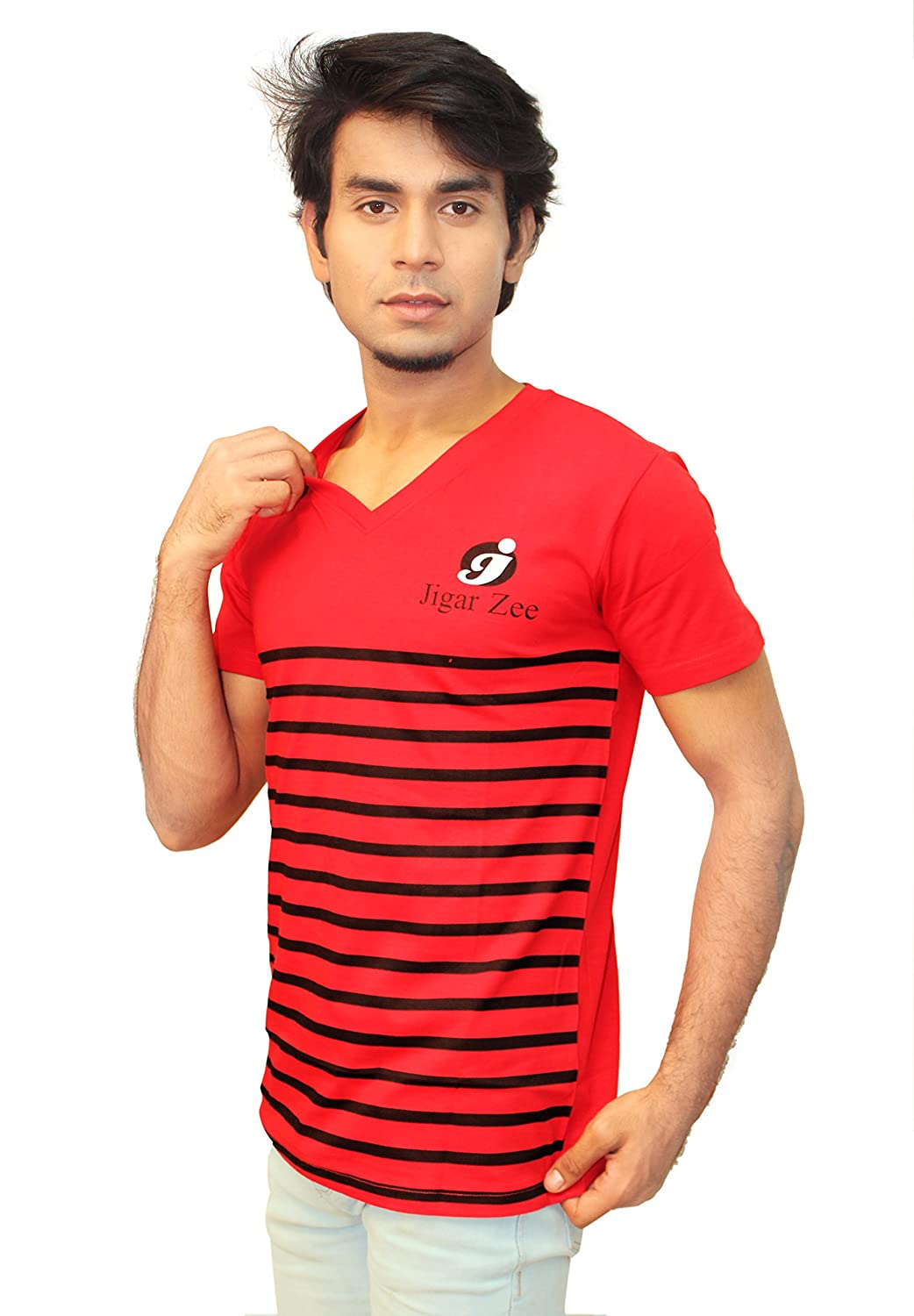 7f50216497 JigarZee Men Half Sleeves V Neck Striped T Shirt (MT814-Red & Black):  Amazon.in: Clothing & Accessories