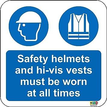 Suelo gráfica seguridad cascos y chalecos Hi-Vis debe ser usado piso marcador muestra.