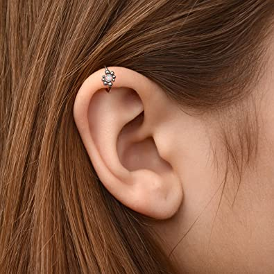 Amazoncom Cartilage Clicker Earring Opal Tragus Jewelry Conch