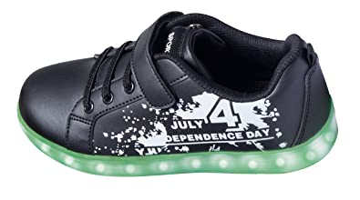 size 40 ca9cc a2f3b Mädchen Jungen LED Sneaker Blinkschuhe Leuchtschuhe Kinderschuhe  Farbwechsel 7 Farben USB Kabel Klettverschluss Gr.31-35 SCHWARZ