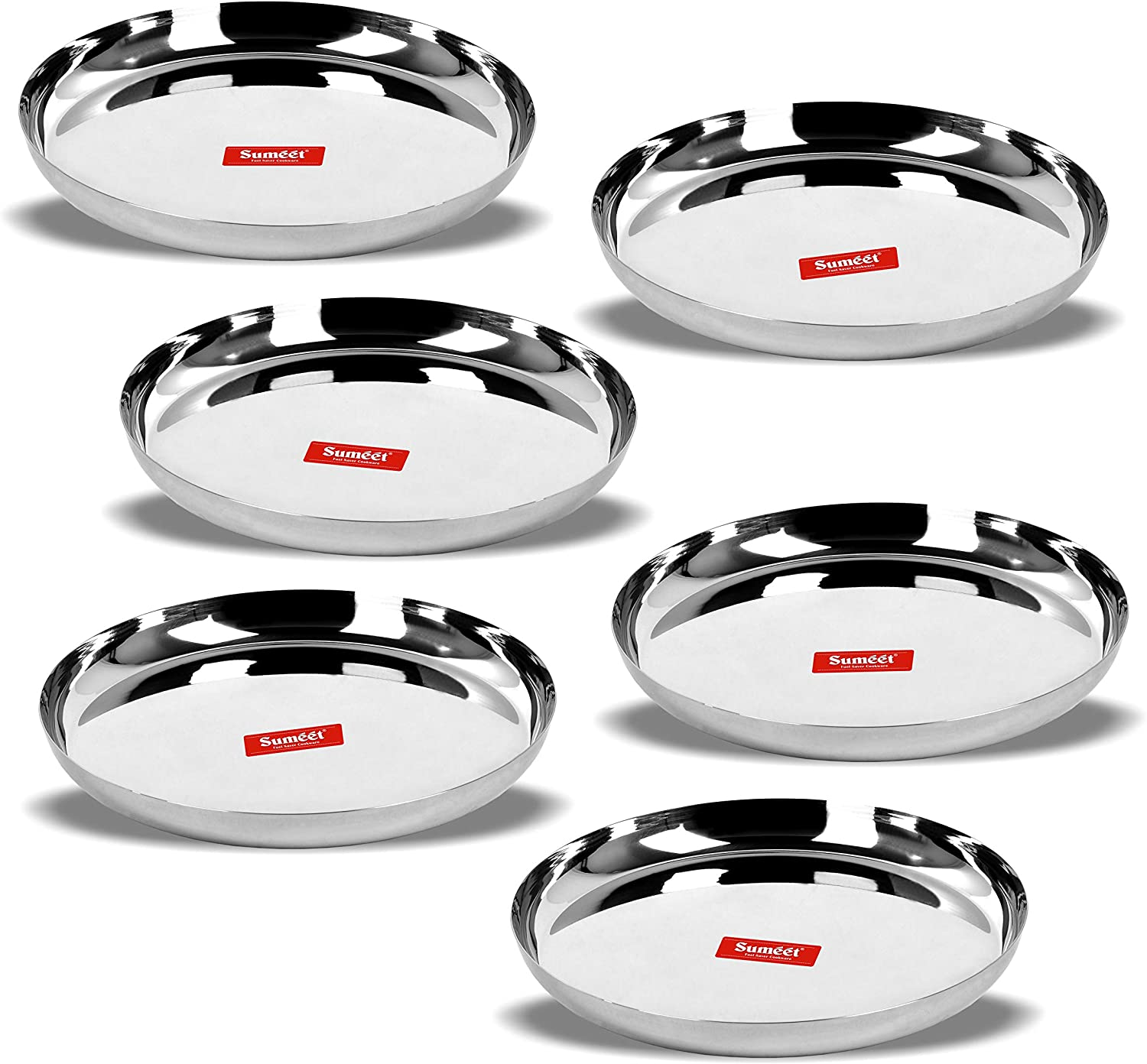 Sumeet Stainless Steel Apple Shape Heavy Gauge Dinner Plates with Mirror Finish 29.5cm Dia - Set of 6pc