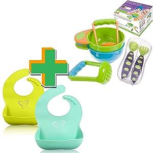 Baby Bibs Set (2 Piece) & Baby Mash & Serve Bowls Set