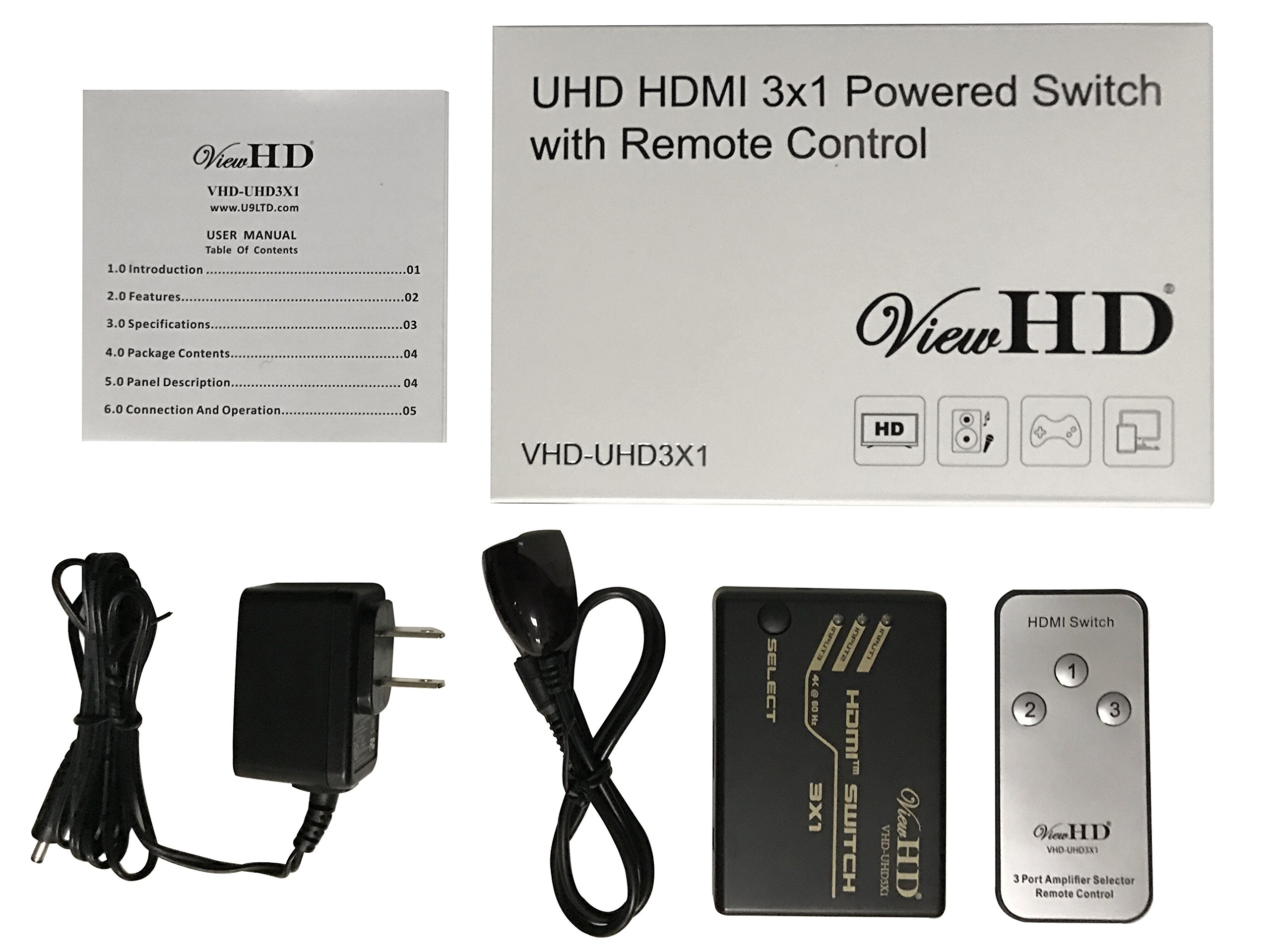 ViewHD UHD HDMI v2.0 3x1 (Three Input to One Output) Powered Switch with Remote Control Support 4K@60Hz   HDR & HDCP 2.2   VHD-UHD3X1 by ViewHD (Image #5)
