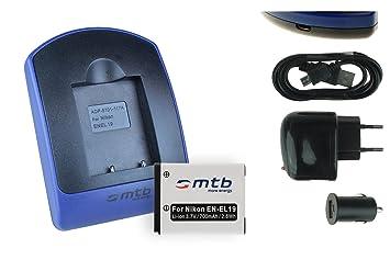 Batería + Cargador (de Red + Coche + USB) EN-EL19 para Nikon Coolpix A100 A300 S33 S100 S3700 S5300 S6900 S7000. – S. Lista
