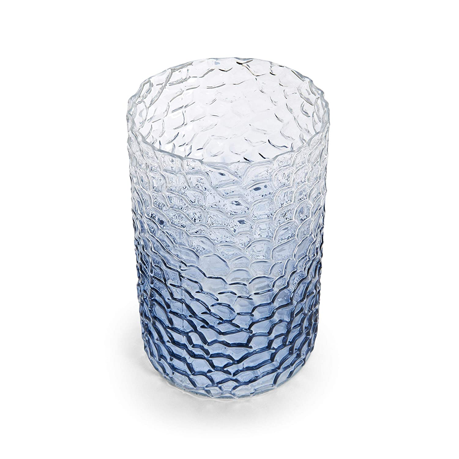 Elements Embossed Glass Hurricane Blue 5x9 inch