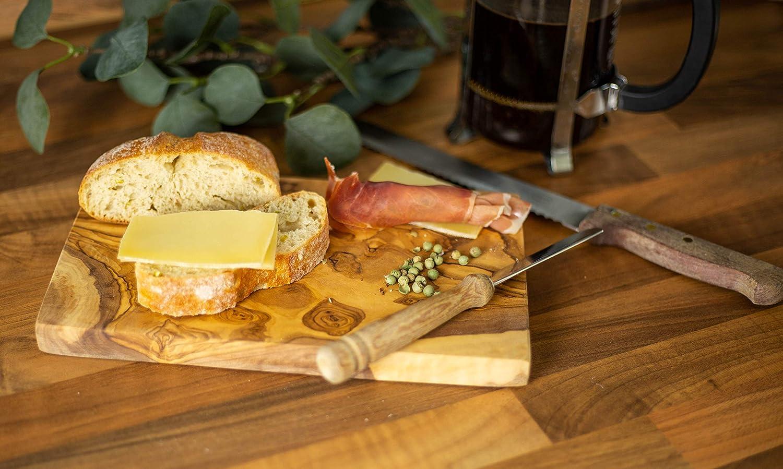 Benera Juego de 2 Tablas de Desayuno Madera de Olivo, 25 x 15 cm