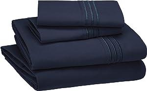 AmazonBasics Premium, Easy-Wash Embroidered Hotel Stitch Sheet Set - King, Navy Blue