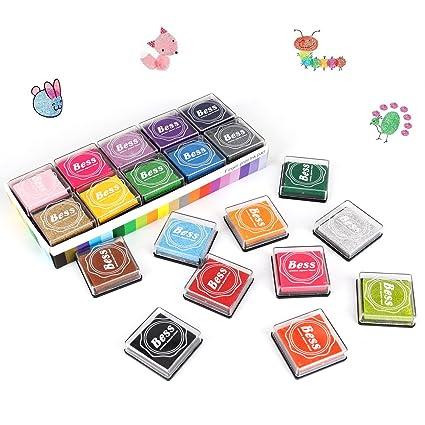 Ink Stamp Pads AODOOR Finger For Kids 20 Colors Washable Craft