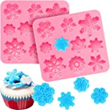 2 Pieces 3D Snowflake Fondant Mold Christmas Snowflake Silicone Mold for Cake Cupcake Decoration Polymer Clay Crafting Projects