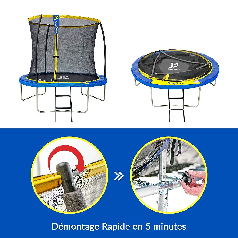 di/ámetro 244 cm Amarillo y Azul di/ámetro JUMP POWER Cama el/ástica con Escalera y Cesta de Baloncesto Unisex