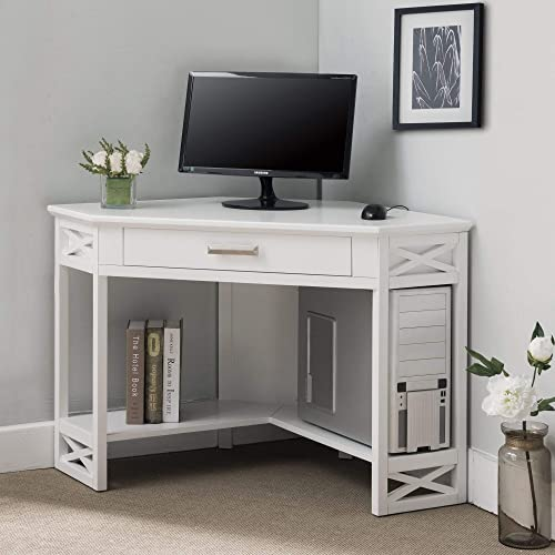 KD Furnishings White Wood Corner Computer/Writing Desk