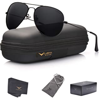 90e4dabd1a89 LUENX Men Aviator Sunglasses Polarized - UV 400 Protection with case 60MM  Classic Style