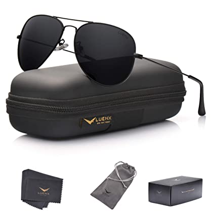15908ec73b609 LUENX Aviator Sunglasses Polarized Mens Womens Black Lens Black Metal Frame  60mm
