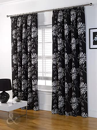 Kitchen Curtains black and silver kitchen curtains : LUXURY Half PANAMA CURTAINS Heavy Pencil Pleat Curtain - Fully ...