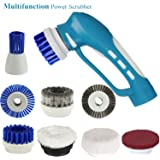 FINE DRAGON Cordless Multipurpose Power Scrubber with Rechargeable Battery and 8 Replacement Brush for Bathroom Bathtub Shower and Kitchen