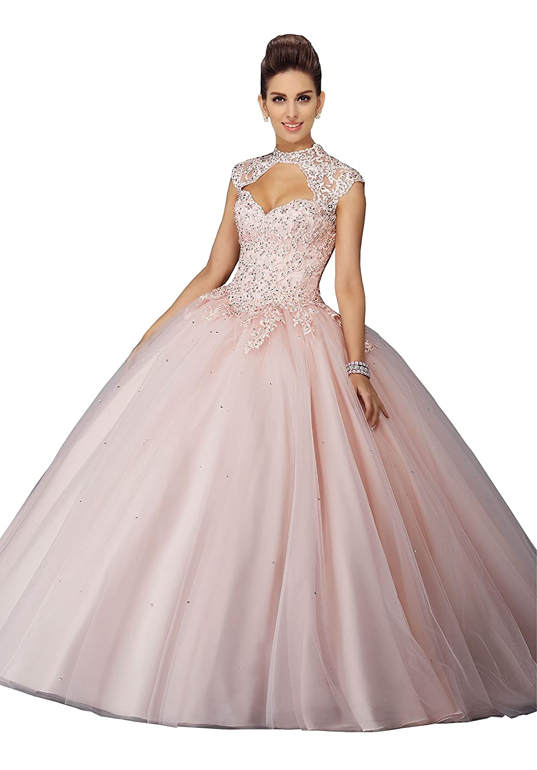 b8235569231 Fannydress High Neck Graduation Dresses High School 2019 Short Sleeve Lace  Applique Beaded Sequin Ball Gown Quinceanera Dress at Amazon Women s  Clothing ...