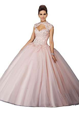 429e5654aea Fannydress Applique Beads Sequins Ball Gowns Graduation Dresses 2019 High  Neck Short Sleeve Quinceanera Dress Prom