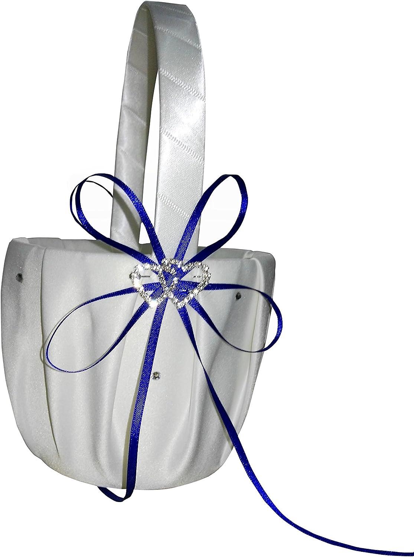 he andi Wedding Flower Girl Basket with Double Heart Rhinestone Decor (Blue)