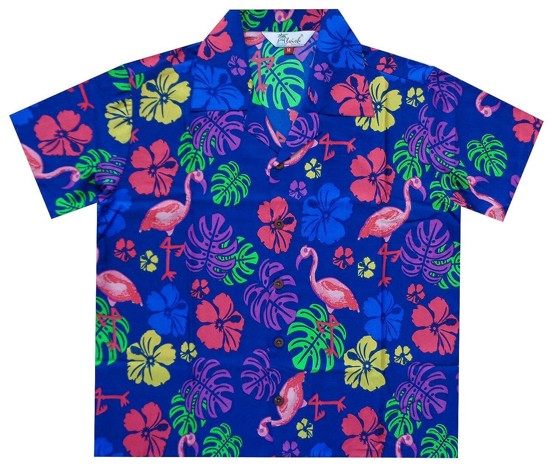 Hawaiian Shirts Boys Flamingo Beach Aloha Party Camp Short Sleeve Holiday Casual
