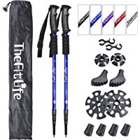 TheFitLife Nordic Walking Trekking Poles - 2 Packs with Antishock and Quick Lock System, Telescopic, Collapsible…