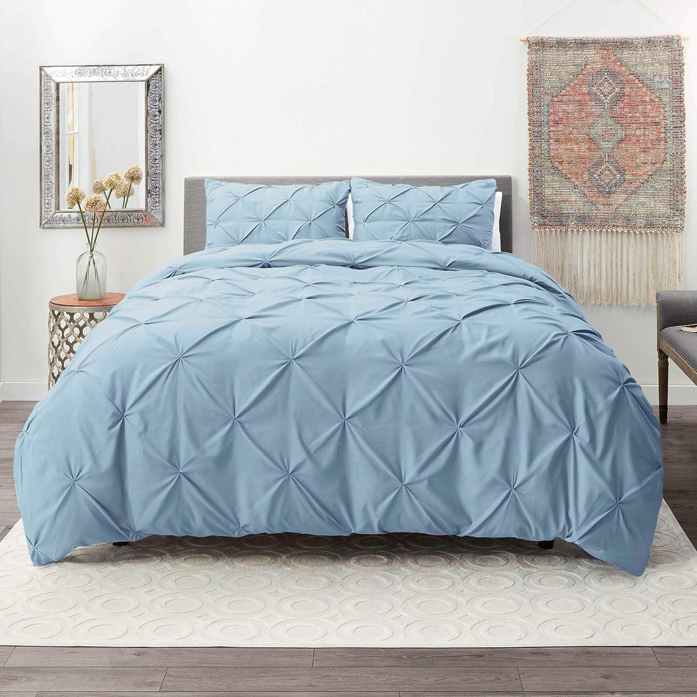 Nestl Duvet Cover Set   Pintuck Comforter Cover  California King Duvet Cover Ice Blue   Pinch Pleat Duvet Cover   Ultra Soft Microfiber Duvet Cover