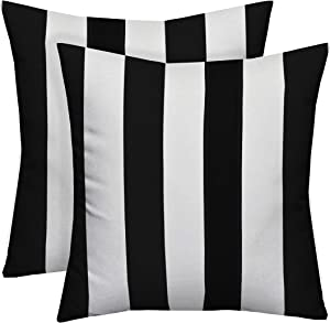 "Resort Spa Home Decor Set of 2~20"" Black and White Stripe Decorative Square Throw Toss Pillows ~ Indoor Outdoor Fabric"