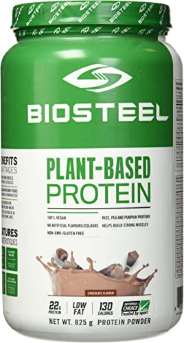 BioSteel Plant-Based Protein with Whole Grain Rice Protein, Pea Protein, and Pumpkin Protein, Chocolate, 825 Gram