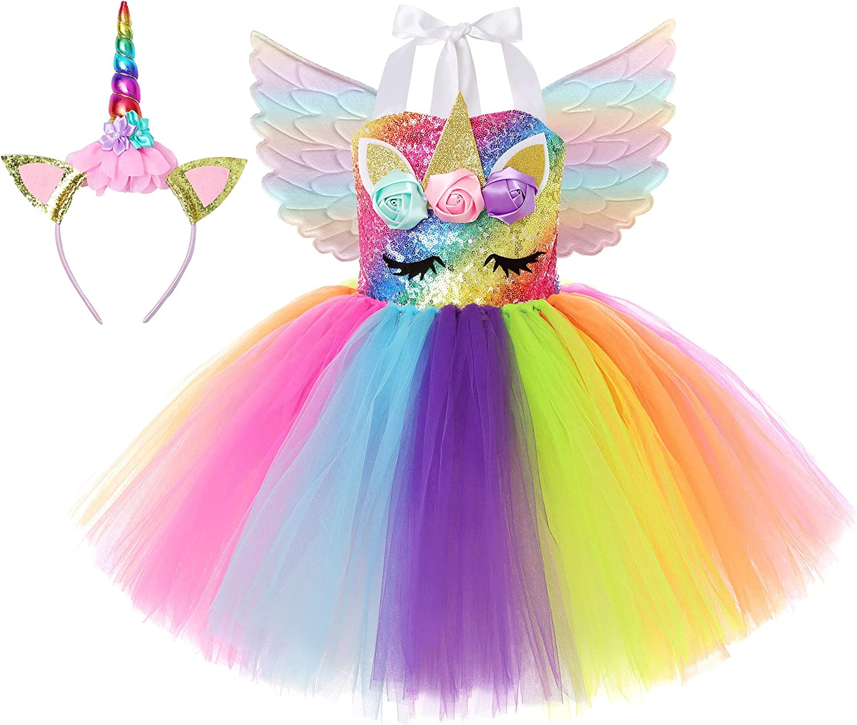 Soyoekbt Unicorn Costume for Girls Birthday Gifts Kids Unicorn Tutu Dress with Headband Wing for Unicorn Party 1-10Year