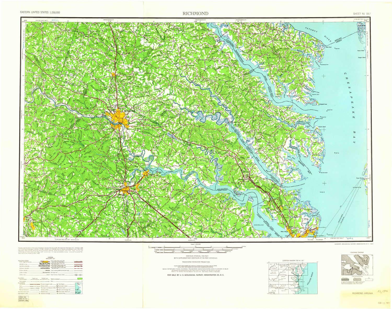 Amazoncom Yellowmaps Richmond Va Topo Map 1250000 Scale 1 X 2 - Richmond-virginia-on-us-map