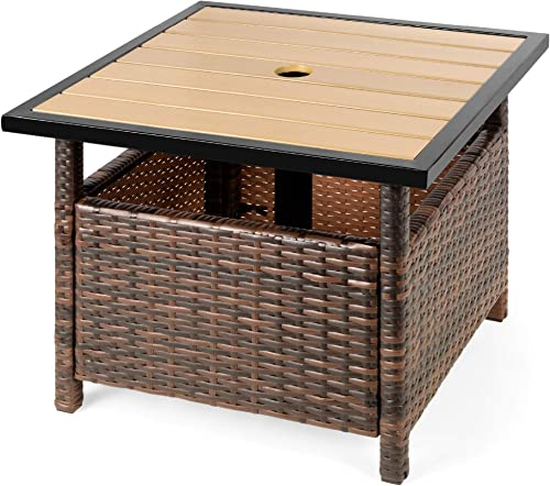 Best Choice Products Wicker Rattan Patio Side Table Outdoor Furniture for Garden, Pool, Deck w Umbrella Hole, UV-Resistant Frame – Brown