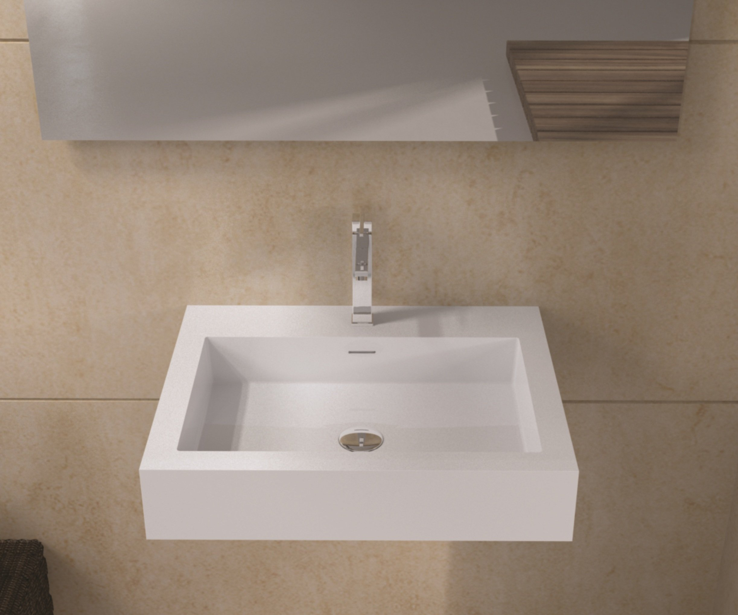 ADM Bathroom Design Wall Hung Sink Matte White DW-133 by ADM