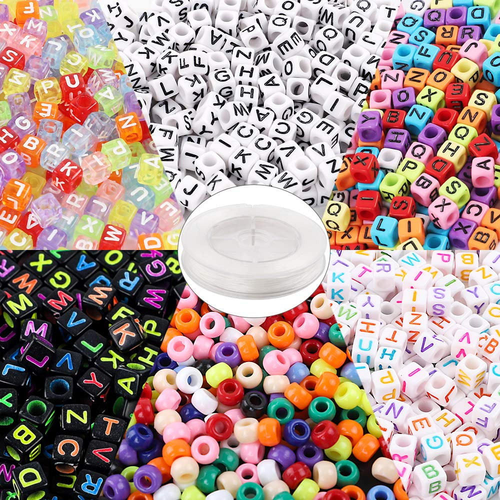 Quefe 1400pcs Jewelry Making Beads Kit Letter Beads and Large Hole Beads in 6 Styles with 50 Meters Elastic String for Bracelets, Necklaces, Key Chains and Other Jewelry Making by QUEFE
