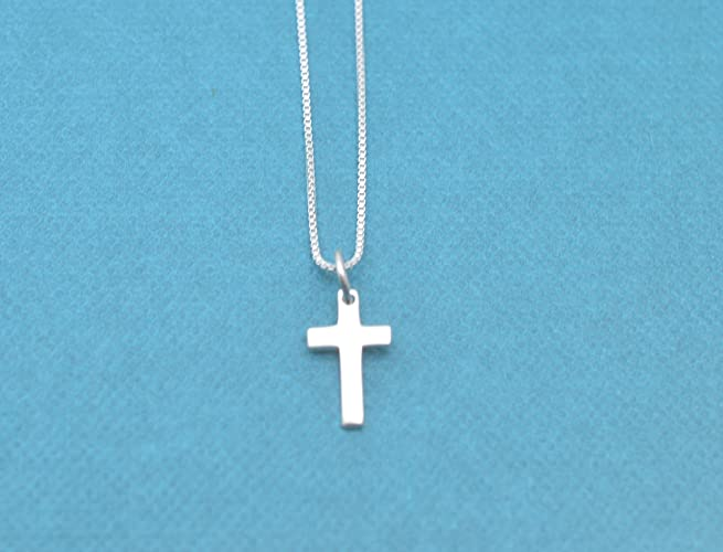Amazon little girls tiny sterling silver cross necklace on 14 little girls tiny sterling silver cross necklace on 14 inch sterling silver box chain little negle Gallery