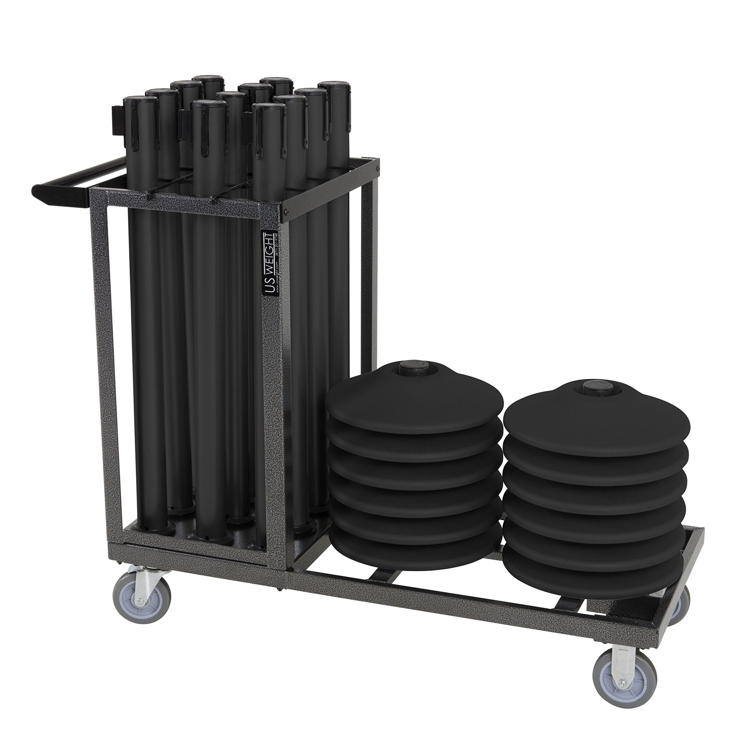 US Weight Statesman Stanchion Cart Kit – 12 Premium Black Steel Stanchions with Cart by US Weight (Image #1)