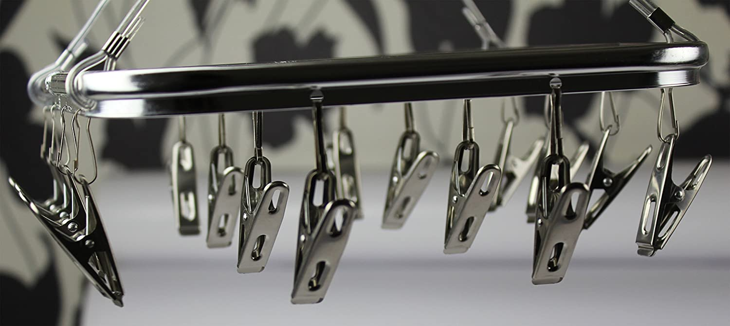 Aluminum Hanging Dryer With Sock Clothes Stainless Steel 16 Airer Multi Clip Hanger Response Scotland