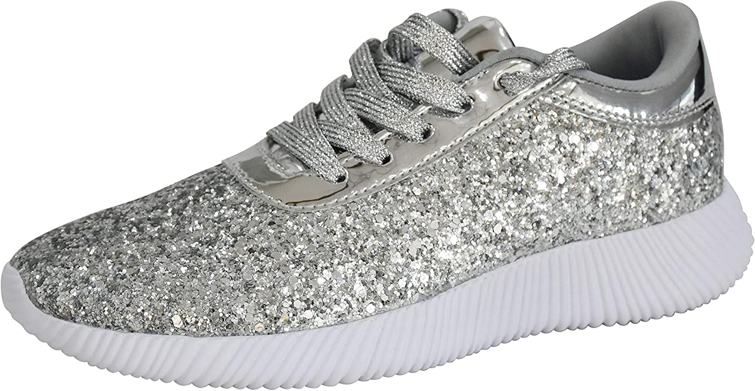 ROXY ROSE Womens Lace Up Metallic Fashion Glitter Sequins Shoes Max 62% OFF Ranking TOP19