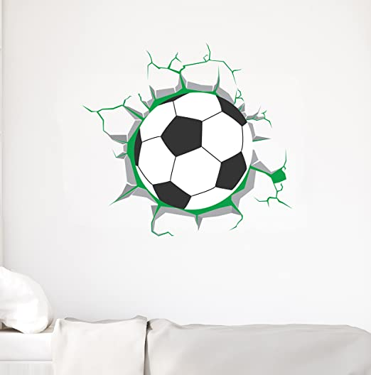 3d Football Wall Sticker Pvc Art Soccer Crack Decal Boys Room Mural Decor Wall Stickers Aliexpress