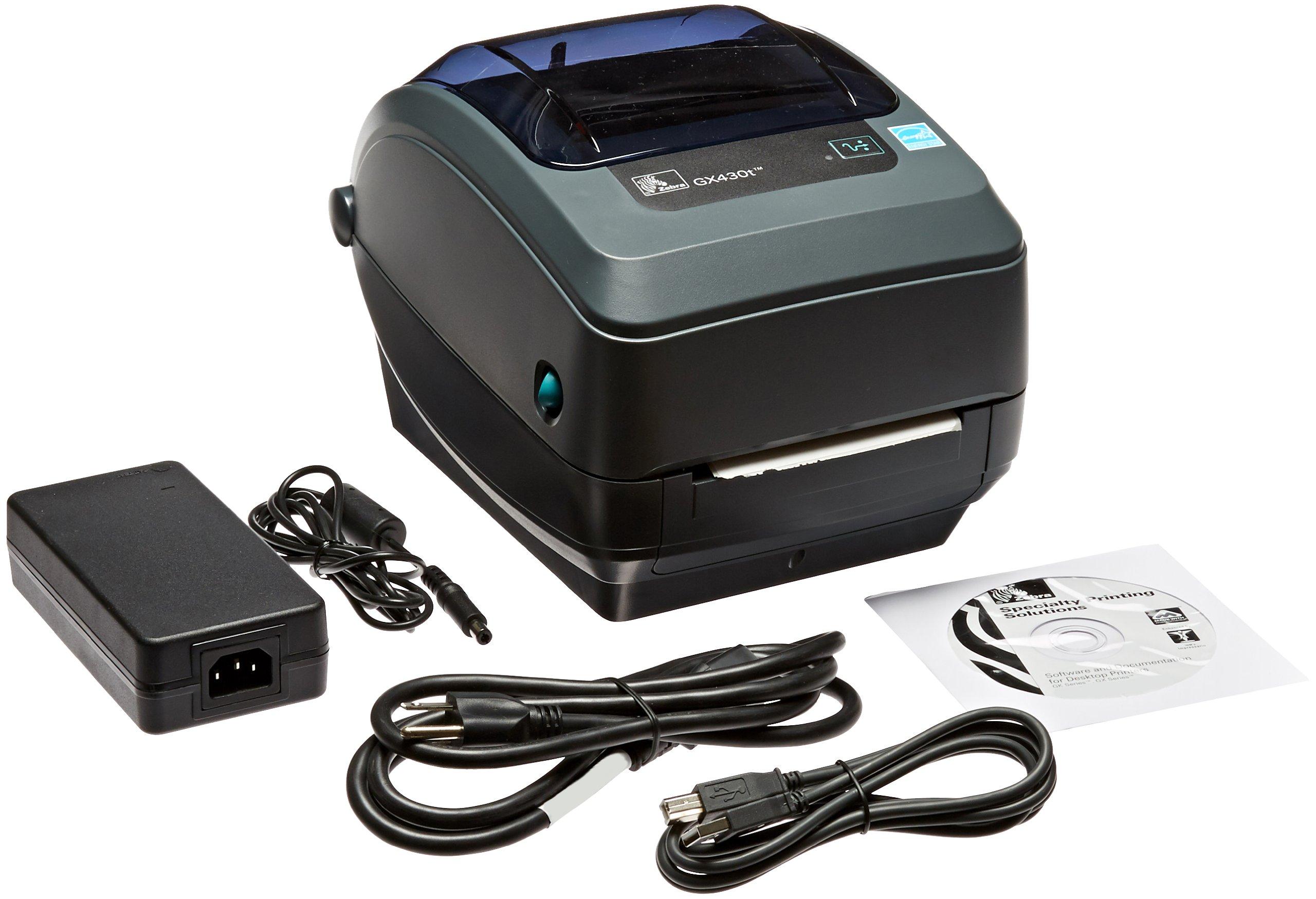 Zebra GX430t Monochrome Desktop Direct Thermal/Thermal Transfer Label Printer with Reflective and Transmissive Media Sensor, 4 in/s Print Speed, 300 dpi Print Resolution, 4.09'' Print Width, 100-240V AC