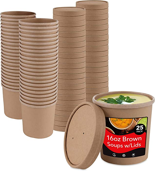 Stock Your Home (25 Count) 16 oz Kraft Brown Disposable Soup Cups with Lids have Multipurpose Use as Ice Cream Cups with Lids - Soup Containers To Go for Restaurants, Delis, and Cafes