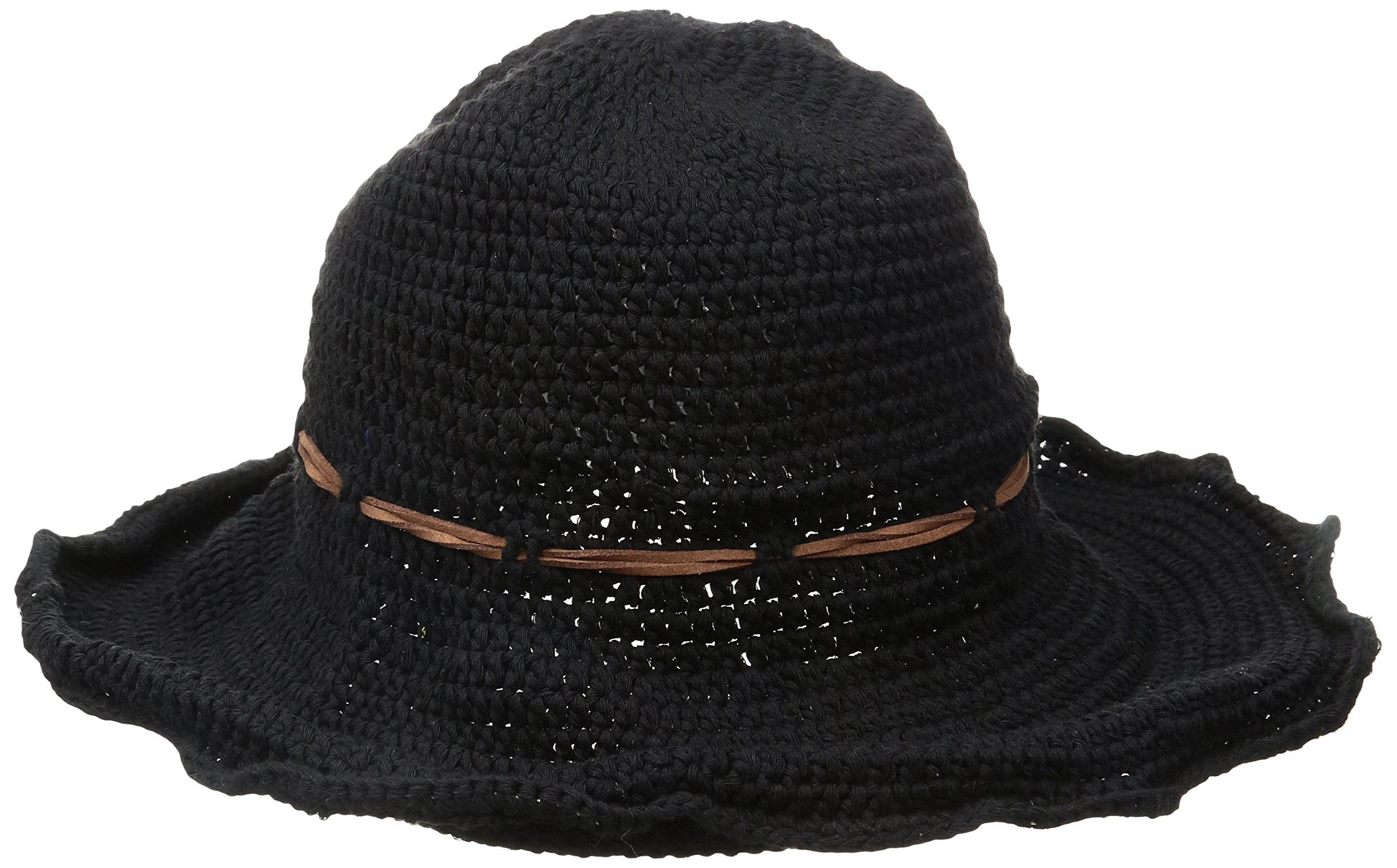 ale by Alessandra Women's Nikki Retro Crochet Floppy Hat With Leather Trim, Black, One Size
