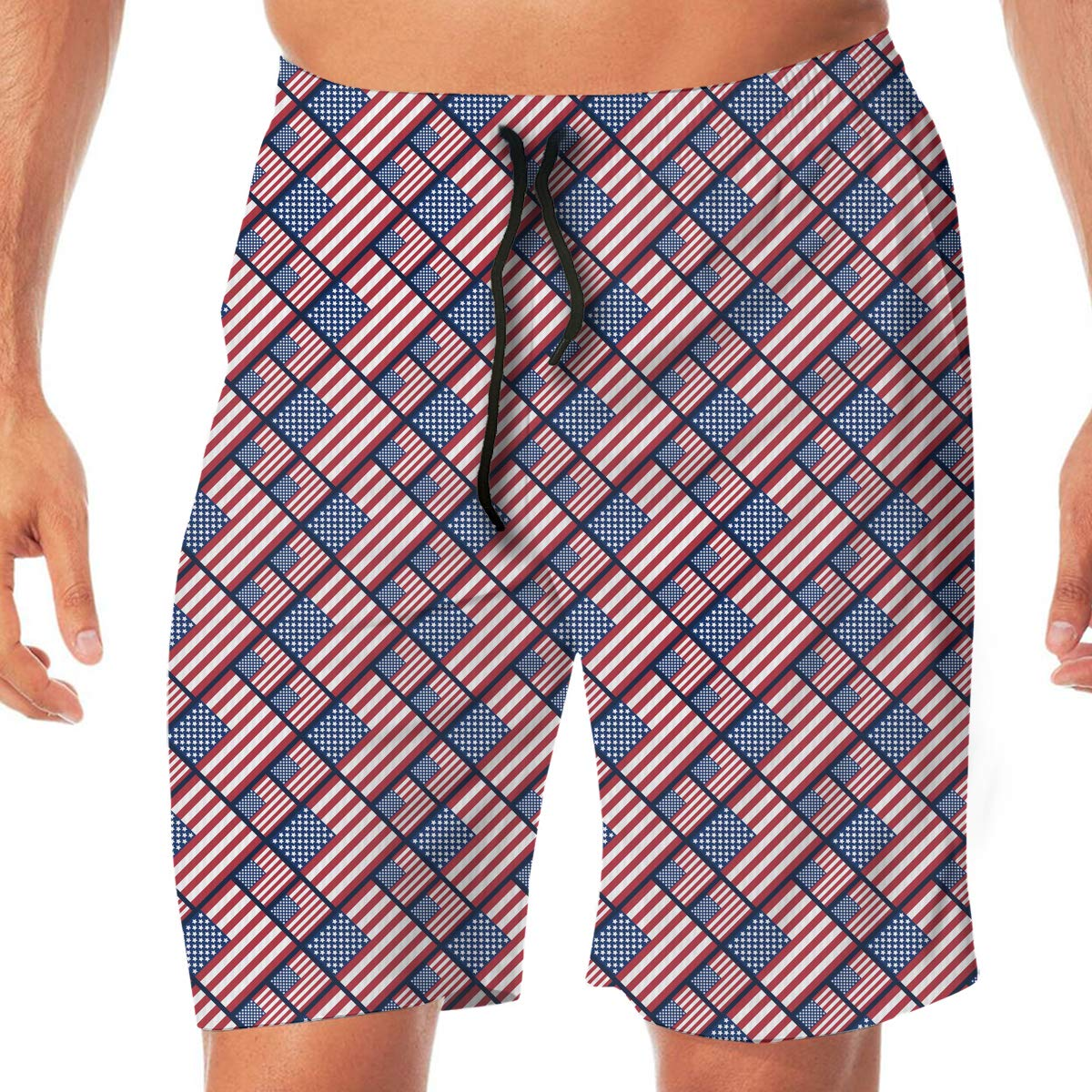 YGE.I.L25 Mens Bathing Suit USA Flags Pattern Summer Vacation Beach Board Short Adults Boys