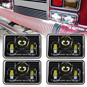 "4pcs 4x6/"" 45W Led Headlights DRL for Kenworth H4651 H4652 H4656 H4666 Truck"