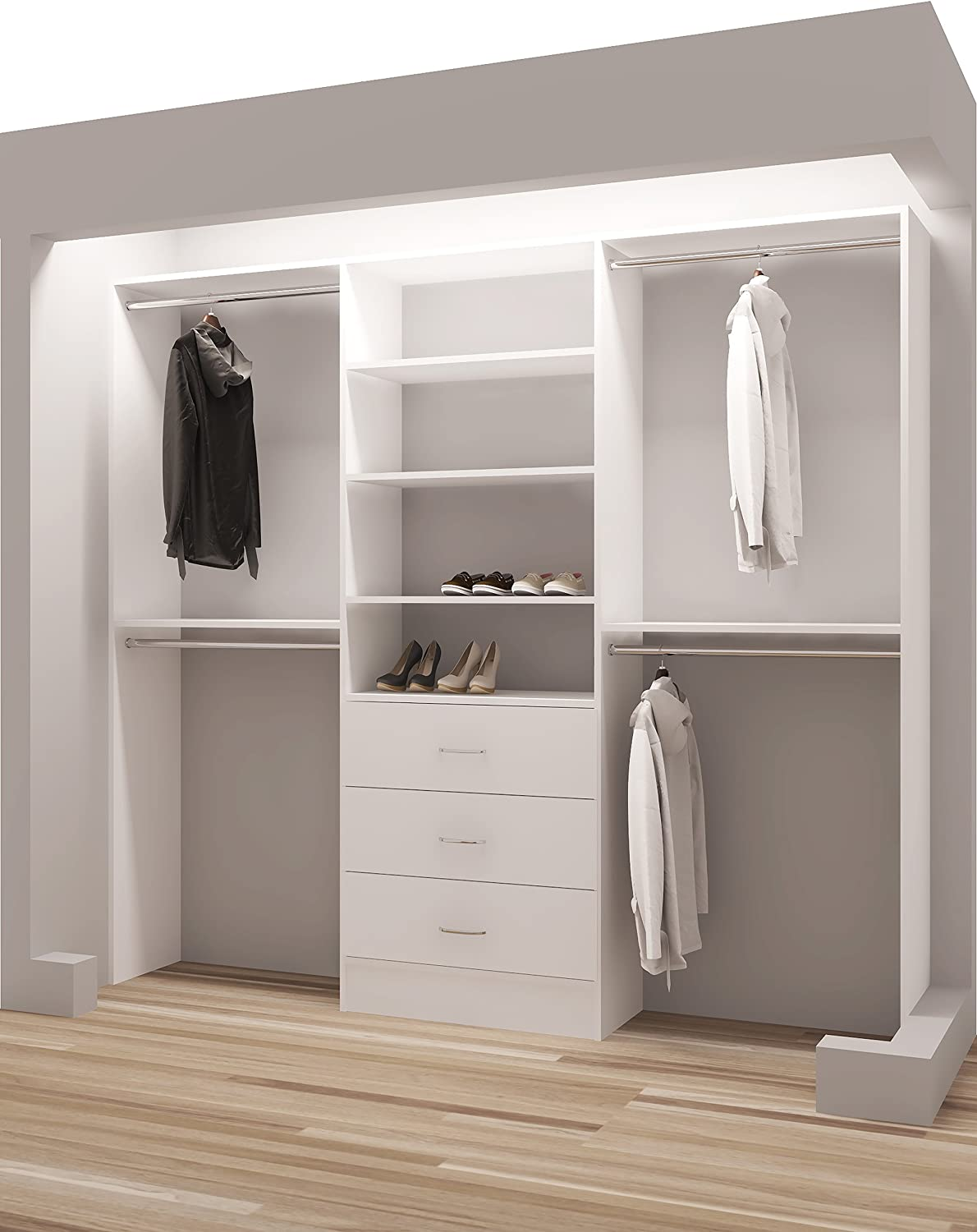 Tidy Squares Closet System – Easy to Assemble - Reach in, Adjustable Shelves, Multiple Drawers and Hanger Racks – Perfect Idea for Extra Storage - Custom Closet Organizer Kit, White