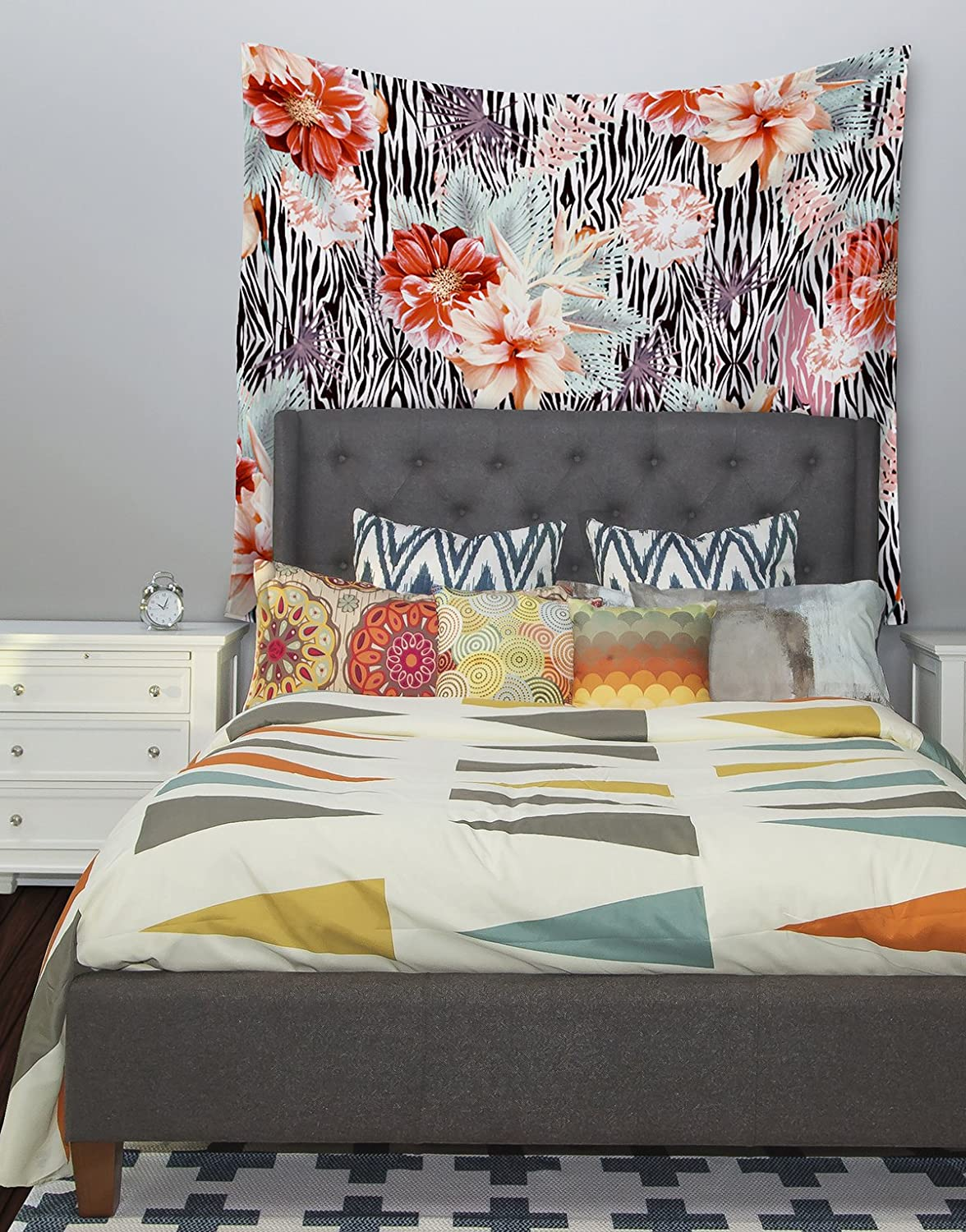 51 X 60 Kess InHouse Nika Martinez Tropical Fusion Red Floral Wall Tapestry